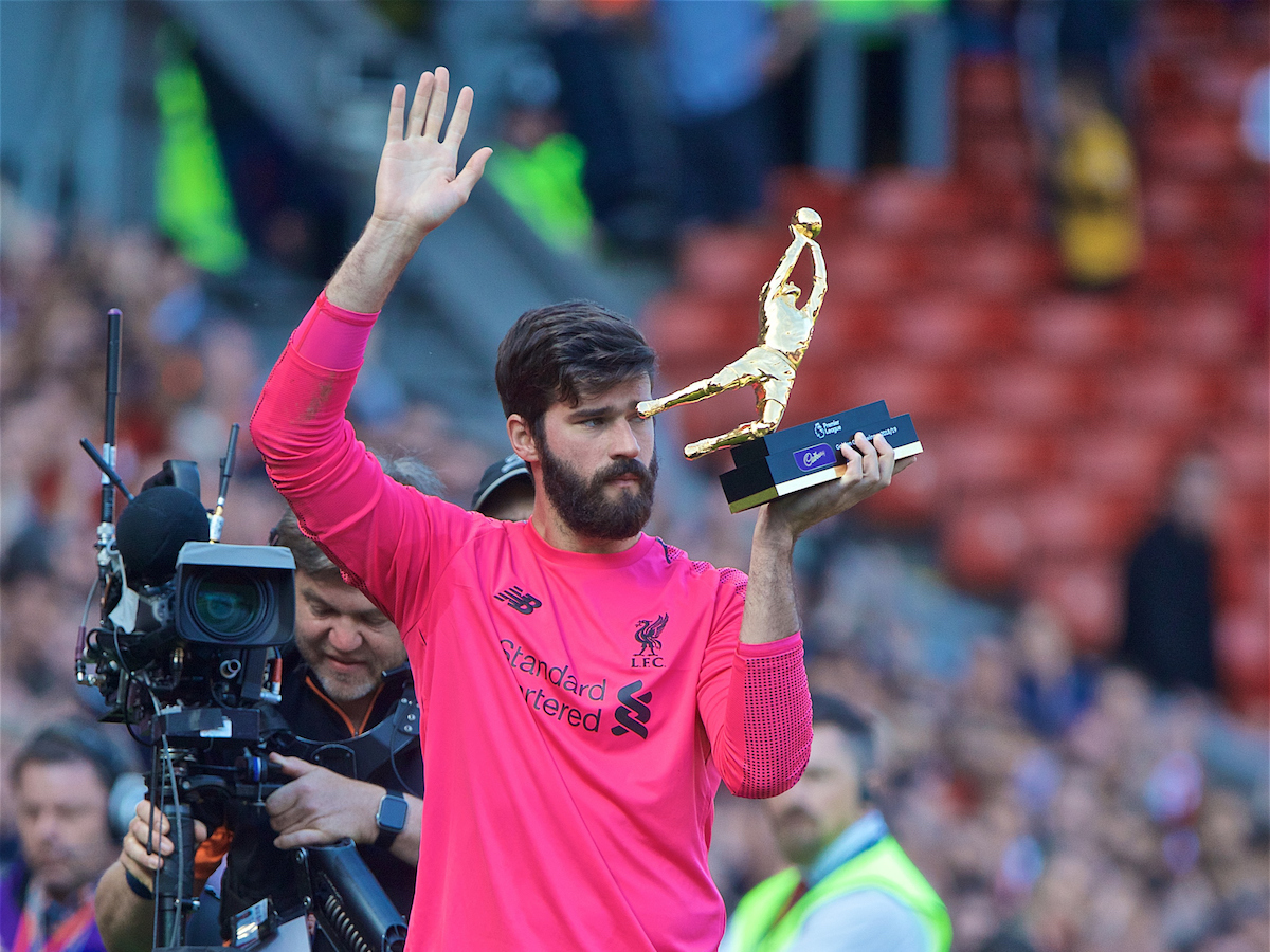 LIVERPOOL, ENGLAND - Sunday, May 12, 2019: Liverpool's goalkeeper Alisson Becker with the golden glove award for the most clean sheets after the final FA Premier League match of the season between Liverpool FC and Wolverhampton Wanderers FC at Anfield. (Pic by David Rawcliffe/Propaganda)