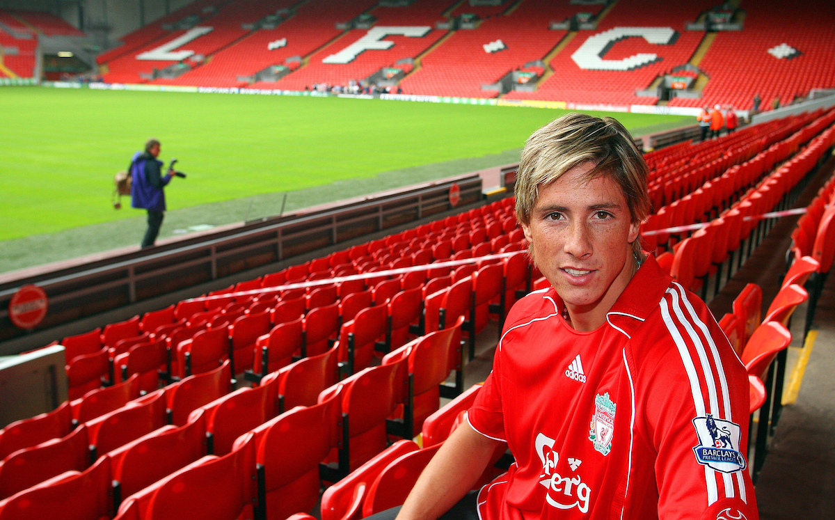 Liverpool, England - Wednesday, July 4, 2007: Liverpool's new signing Fernando Torres at Anfield following his £26m transfer from Atletico Madird, a club record transfer fee. (Photo by David Rawcliffe/Propaganda)