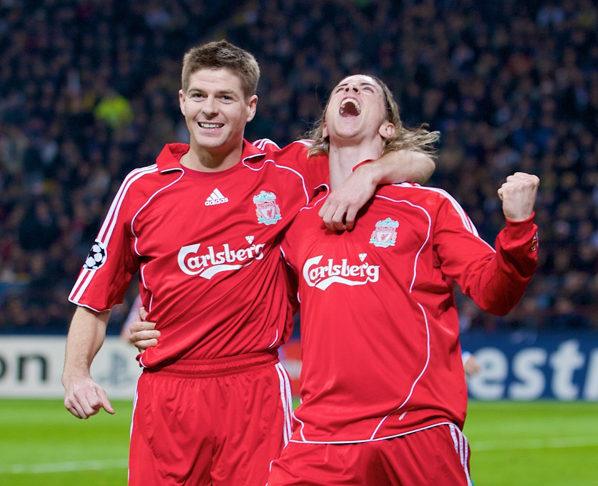 MILAN, ITALY - Tuesday, March 10, 2008: Liverpool's Fernando Torres celebrates scoring the opening goal against FC Internazionale Milano with team-mate captain Steven Gerrard MBE during the UEFA Champions League First knockout Round 2nd Leg match at the San Siro. (Pic by David Rawcliffe/Propaganda)