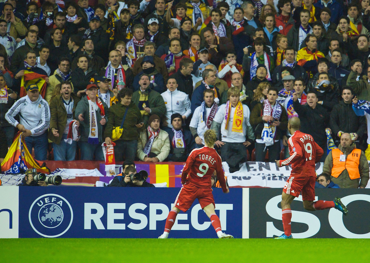 LIVERPOOL, ENGLAND - Tuesday, March 10, 2009: Liverpool's Fernando Torres celebrates scoring the opening goal against Real Madrid during the UEFA Champions League First Knockout Round 2nd Leg match at Anfield. (Photo by David Rawcliffe/Propaganda)