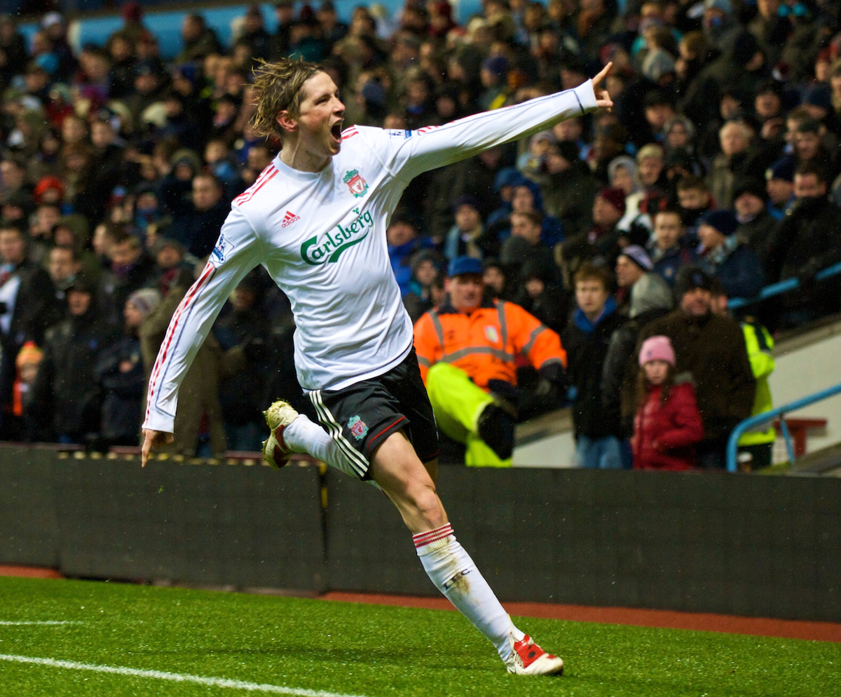 BIRMINGHAM, ENGLAND - Tuesday, December 29, 2009: Liverpool's Fernando Torres celebrates scoring his 50th goal for the club, in record time, during the Premiership match against Aston Villa at Villa Park. (Photo by: David Rawcliffe/Propaganda)