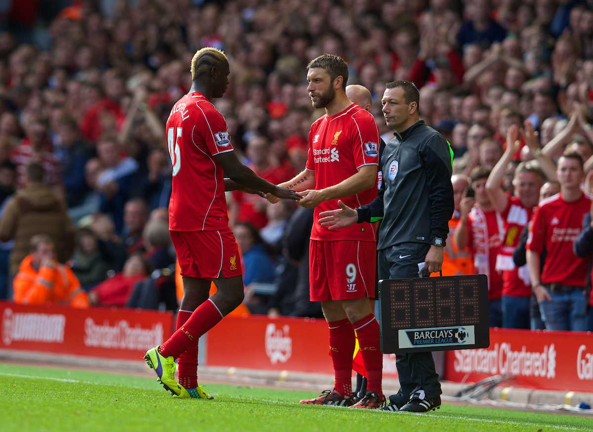 LIVERPOOL, ENGLAND - Saturday, September 27, 2014: Liverpool's Mario Balotelli is substituted for Rickie Lambert against Everton during the Premier League match at Anfield. (Pic by David Rawcliffe/Propaganda)