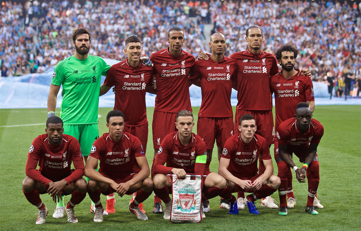 MADRID, SPAIN - SATURDAY, JUNE 1, 2019: Liverpool's players line-up for a team group photograph before the UEFA Champions League Final match between Tottenham Hotspur FC and Liverpool FC at the Estadio Metropolitano. Back row L-R: goalkeeper Alisson Becker, Roberto Firmino, Joel Matip, Fabio Henrique Tavares 'Fabinho', Virgil van Dijk, Mohamed Salah. Front row L-R: Georginio Wijnaldum, Trent Alexander-Arnold, captain Jordan Henderson, Andy Robertson, Sadio Mane. (Pic by David Rawcliffe/Propaganda)