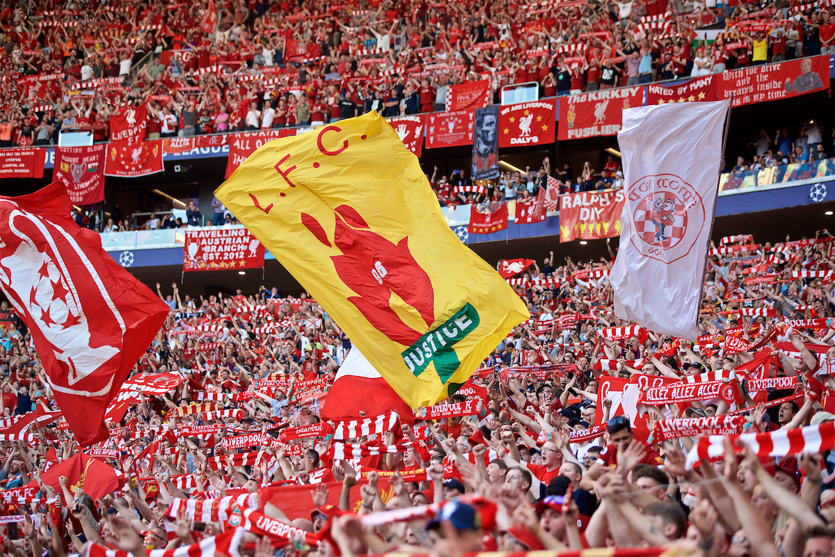 MADRID, SPAIN - SATURDAY, JUNE 1, 2019: Liverpool supporters before the UEFA Champions League Final match between Tottenham Hotspur FC and Liverpool FC at the Estadio Metropolitano. (Pic by David Rawcliffe/Propaganda)