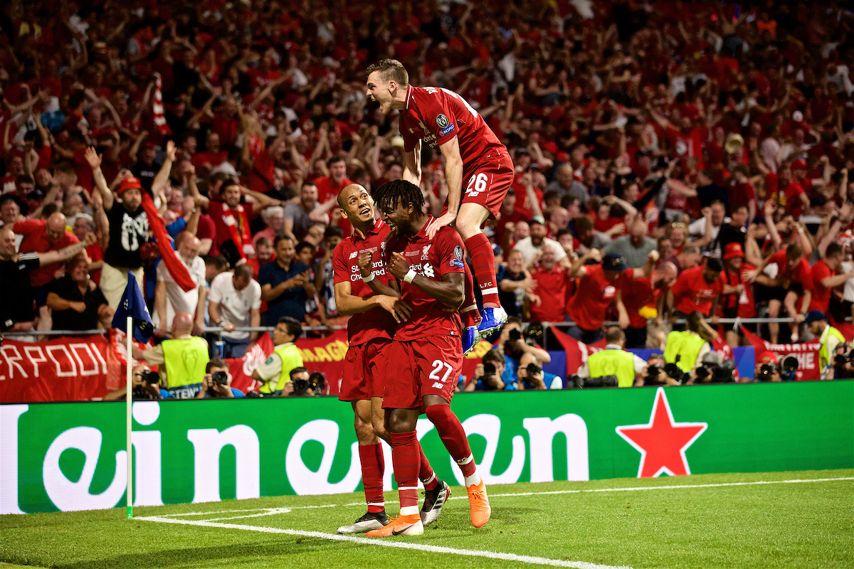 MADRID, SPAIN - SATURDAY, JUNE 1, 2019: Liverpool's Divock Origi celebrates scoring the second goal during the UEFA Champions League Final match between Tottenham Hotspur FC and Liverpool FC at the Estadio Metropolitano. (Pic by David Rawcliffe/Propaganda)
