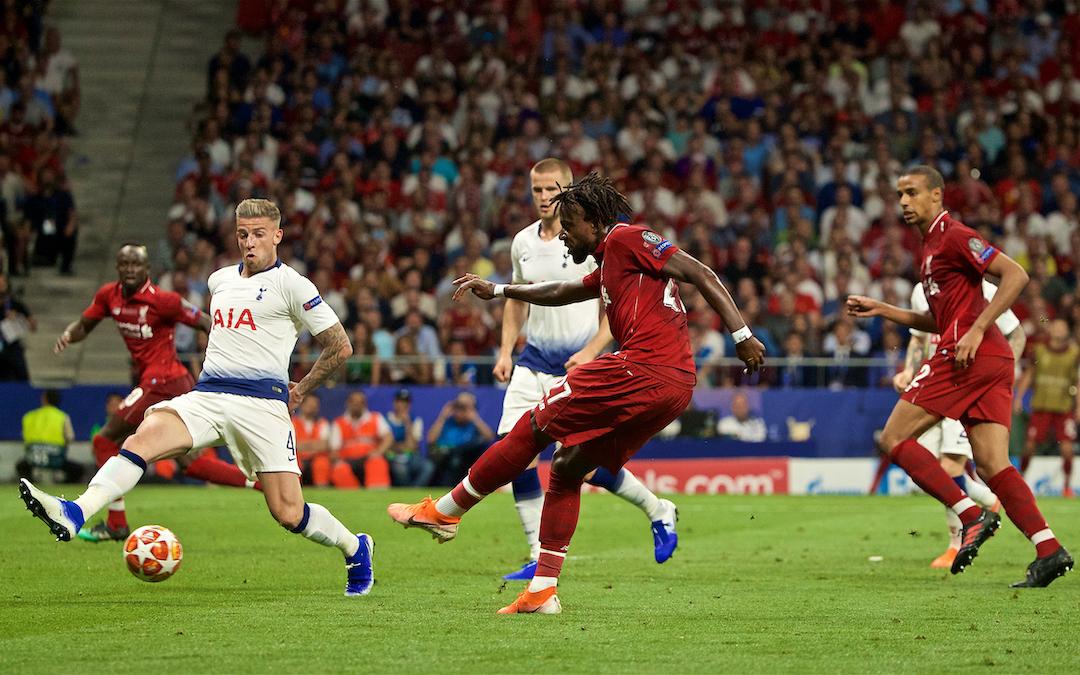 MADRID, SPAIN - SATURDAY, JUNE 1, 2019: Liverpool's Divock Origi scores the second goal during the UEFA Champions League Final match between Tottenham Hotspur FC and Liverpool FC at the Estadio Metropolitano. (Pic by David Rawcliffe/Propaganda)