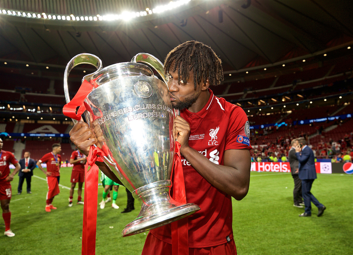 MADRID, SPAIN - SATURDAY, JUNE 1, 2019: Liverpool's goal-scorer Divock Origi kisses the trophy after the UEFA Champions League Final match between Tottenham Hotspur FC and Liverpool FC at the Estadio Metropolitano. Liverpool won 2-0 to win their sixth European Cup. (Pic by David Rawcliffe/Propaganda)