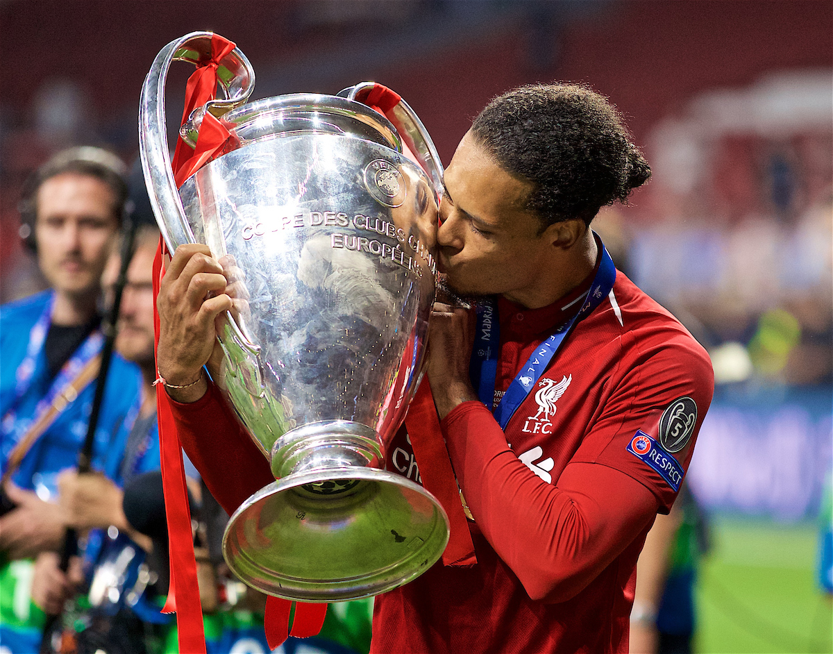 MADRID, SPAIN - SATURDAY, JUNE 1, 2019: Liverpool's Virgil van Dijk kisses the trophy after the UEFA Champions League Final match between Tottenham Hotspur FC and Liverpool FC at the Estadio Metropolitano. Liverpool won 2-0 to win their sixth European Cup. (Pic by David Rawcliffe/Propaganda)