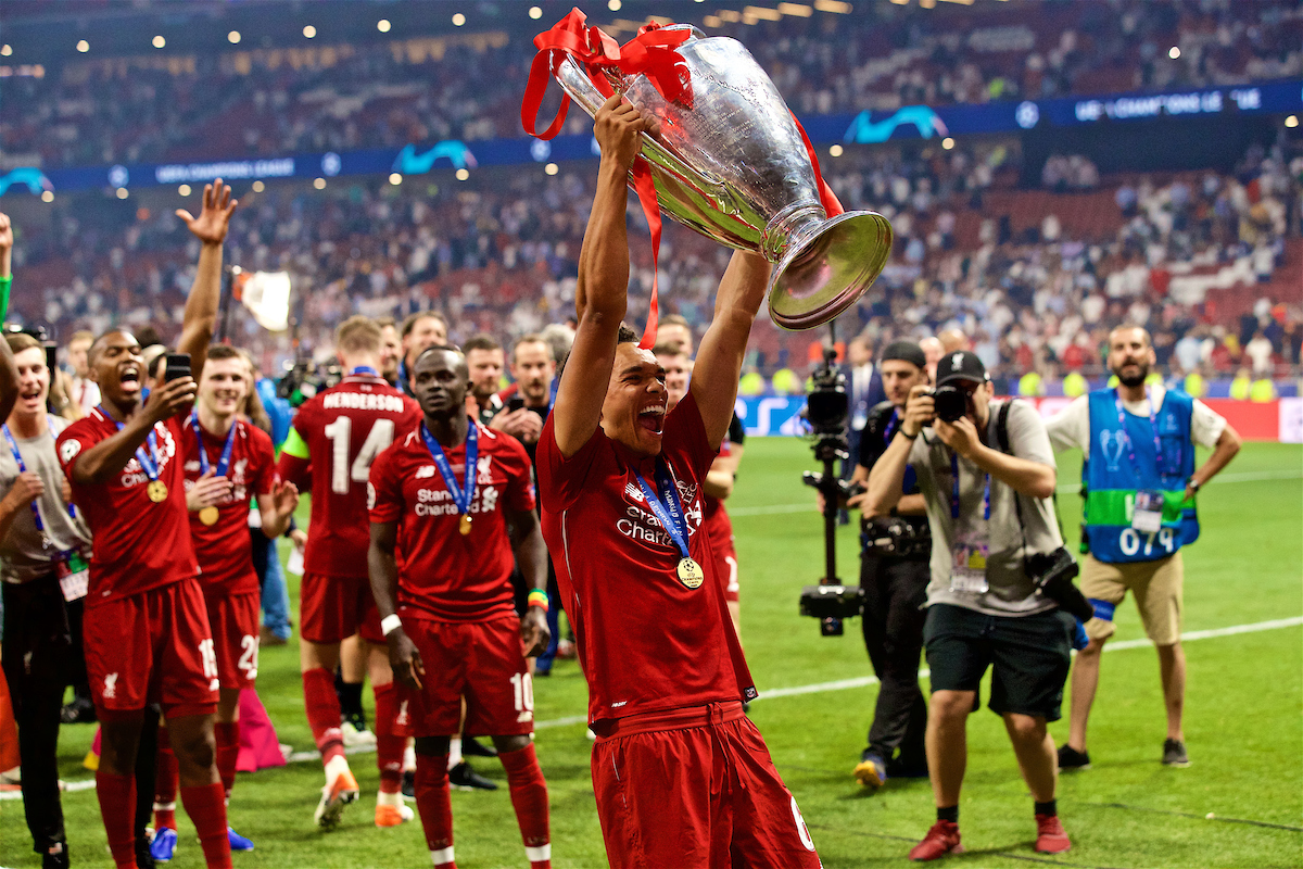 MADRID, SPAIN - SATURDAY, JUNE 1, 2019: Liverpool's Trent Alexander-Arnold lifts the trophy after the UEFA Champions League Final match between Tottenham Hotspur FC and Liverpool FC at the Estadio Metropolitano. Liverpool won 2-0 to win their sixth European Cup. (Pic by David Rawcliffe/Propaganda)