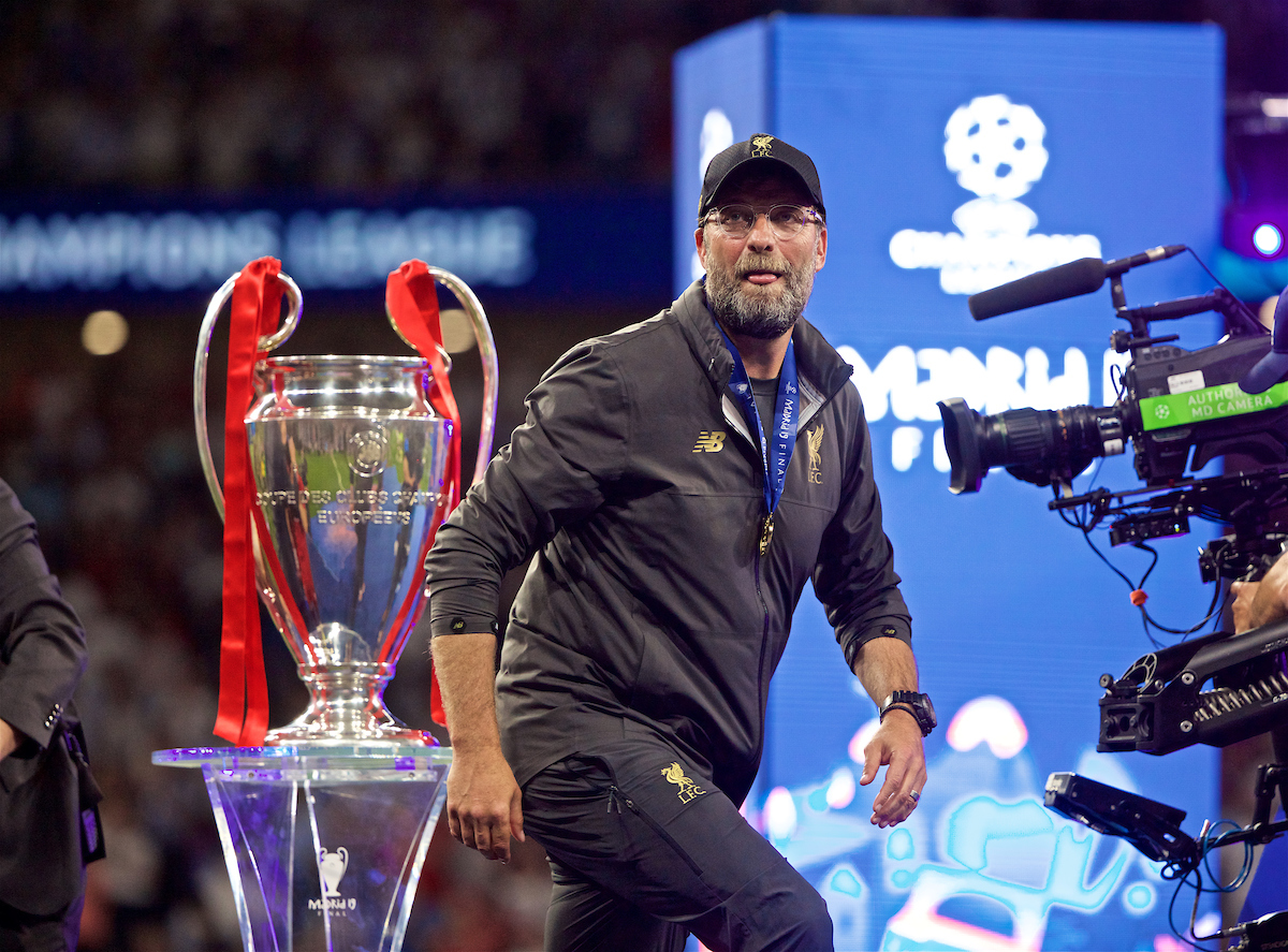 MADRID, SPAIN - SATURDAY, JUNE 1, 2019: Liverpool's manager Jürgen Klopp walks past the trophy after the UEFA Champions League Final match between Tottenham Hotspur FC and Liverpool FC at the Estadio Metropolitano. Liverpool won 2-0 tp win their sixth European Cup. (Pic by David Rawcliffe/Propaganda)