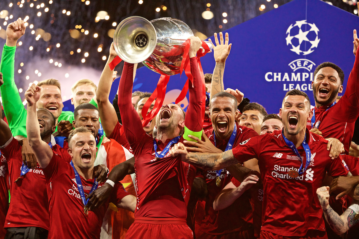 MADRID, SPAIN - SATURDAY, JUNE 1, 2019: Liverpool's captain Jordan Henderson lifts the trophy after the UEFA Champions League Final match between Tottenham Hotspur FC and Liverpool FC at the Estadio Metropolitano. Liverpool won 2-0 tp win their sixth European Cup. (Pic by David Rawcliffe/Propaganda)