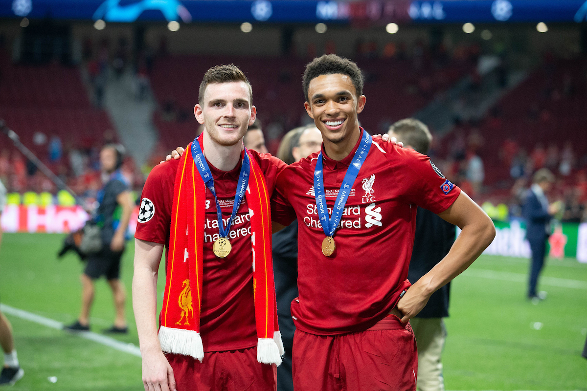 MADRID, SPAIN - SATURDAY, JUNE 1, 2019: Liverpool's Andy Robertson (L) and Trent Alexander-Arnold after the UEFA Champions League Final match between Tottenham Hotspur FC and Liverpool FC at the Estadio Metropolitano. Liverpool won 2-0 to win their sixth European Cup. (Pic by Peter Makadi/Propaganda)