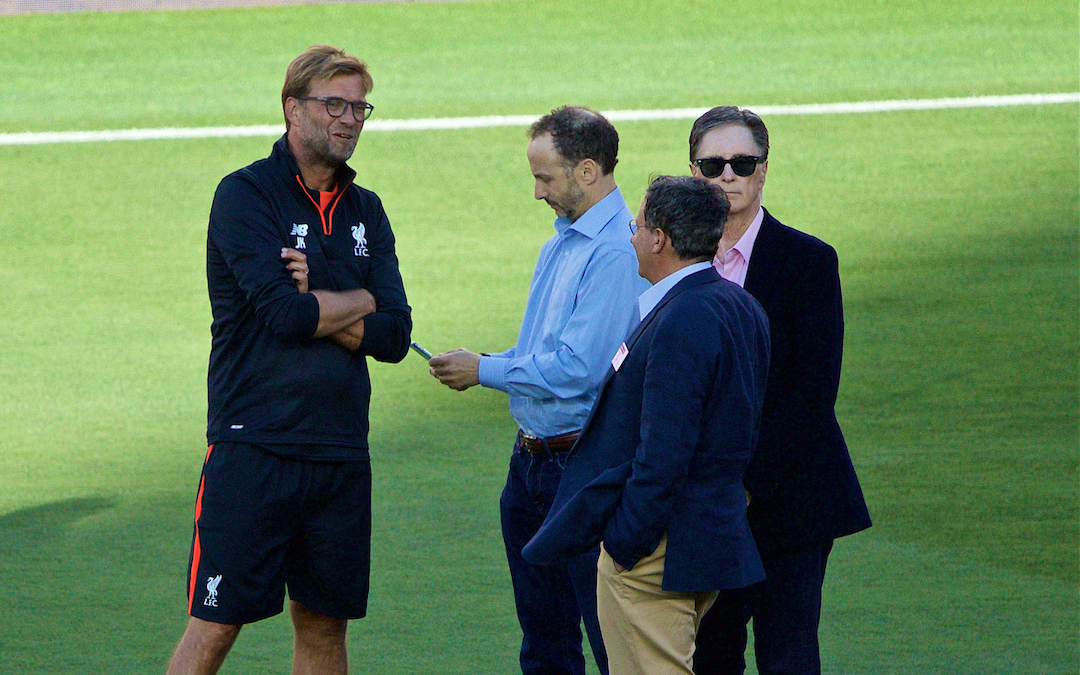 Liverpool's manager Jürgen Klopp chats with co-owner and FSG Chairman Tom Werner, owner John W. Henry and Director Michael Gordon