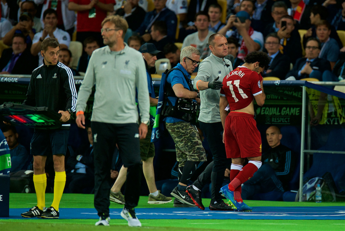 KIEV, UKRAINE - Saturday, May 26, 2018: Liverpool's Mohamed Salah walks off in tears after being substituted with an injury during the UEFA Champions League Final match between Real Madrid CF and Liverpool FC at the NSC Olimpiyskiy. (Pic by Peter Powell/Propaganda)