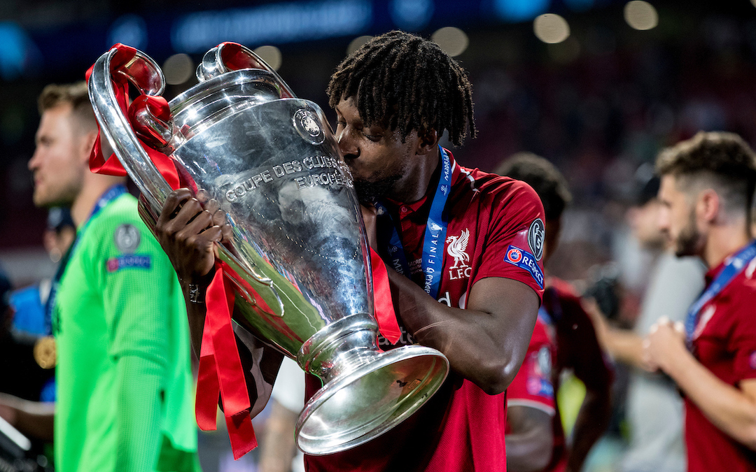 MADRID, SPAIN - SATURDAY, JUNE 1, 2019: Liverpool's Divock Origi kisses the European Cup following a 2-0 victory in the UEFA Champions League Final match between Tottenham Hotspur FC and Liverpool FC at the Estadio Metropolitano. (Pic by Paul Greenwood/Propaganda)