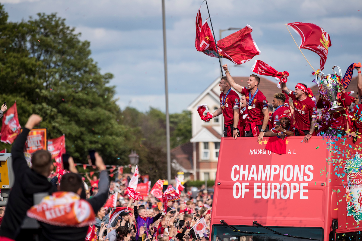 LIVERPOOL, ENGLAND - Sunday, June 2, 2019: Liverpool's James Milner, captain Jordan Henderson, Alex Oxlaide Chamberlain, Daniel Sturridge, Alberto Moreno and Trent Alexander-Arnold during an open-top bus parade through the city after winning the UEFA Champions League Final. Liverpool beat Tottenham Hotspur. 2-0 in Madrid. To claim their sixth European Cup. (Pic by Paul Greenwood/Propaganda)