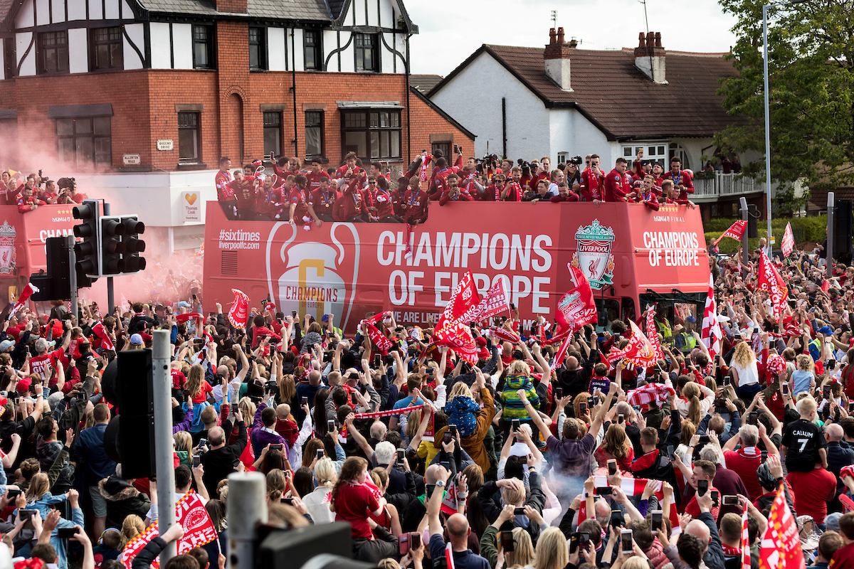 LIVERPOOL, ENGLAND - Sunday, June 2, 2019: Liverpool's players during an open-top bus parade through the city after winning the UEFA Champions League Final. Liverpool beat Tottenham Hotspur. 2-0 in Madrid. To claim their sixth European Cup. (Pic by Paul Greenwood/Propaganda)