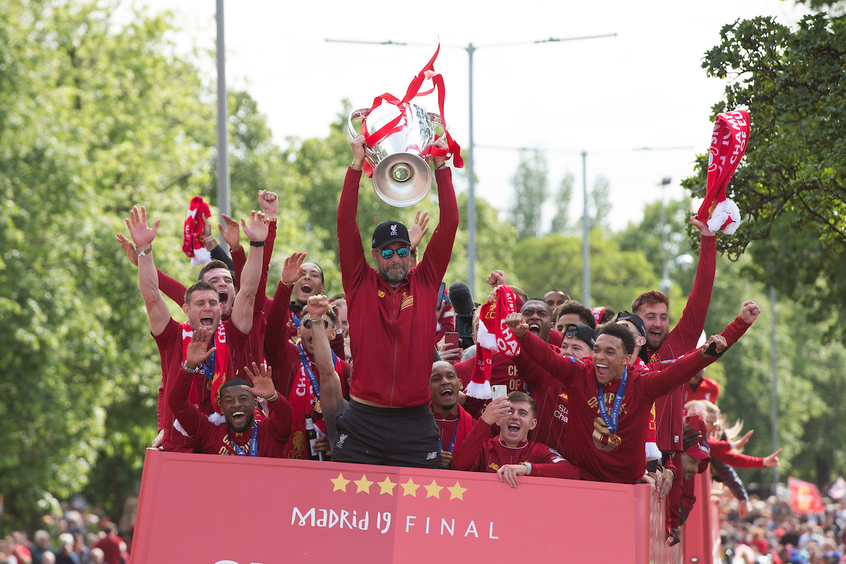 LIVERPOOL, ENGLAND - Sunday, June 2, 2019: Liverpool's manager Jürgen Klopp lifts the trophy during an open-top bus parade through the city after winning the UEFA Champions League Final. Liverpool beat Tottenham Hotspur. 2-0 in Madrid. To claim their sixth European Cup. (Pic by Paul Greenwood/Propaganda)
