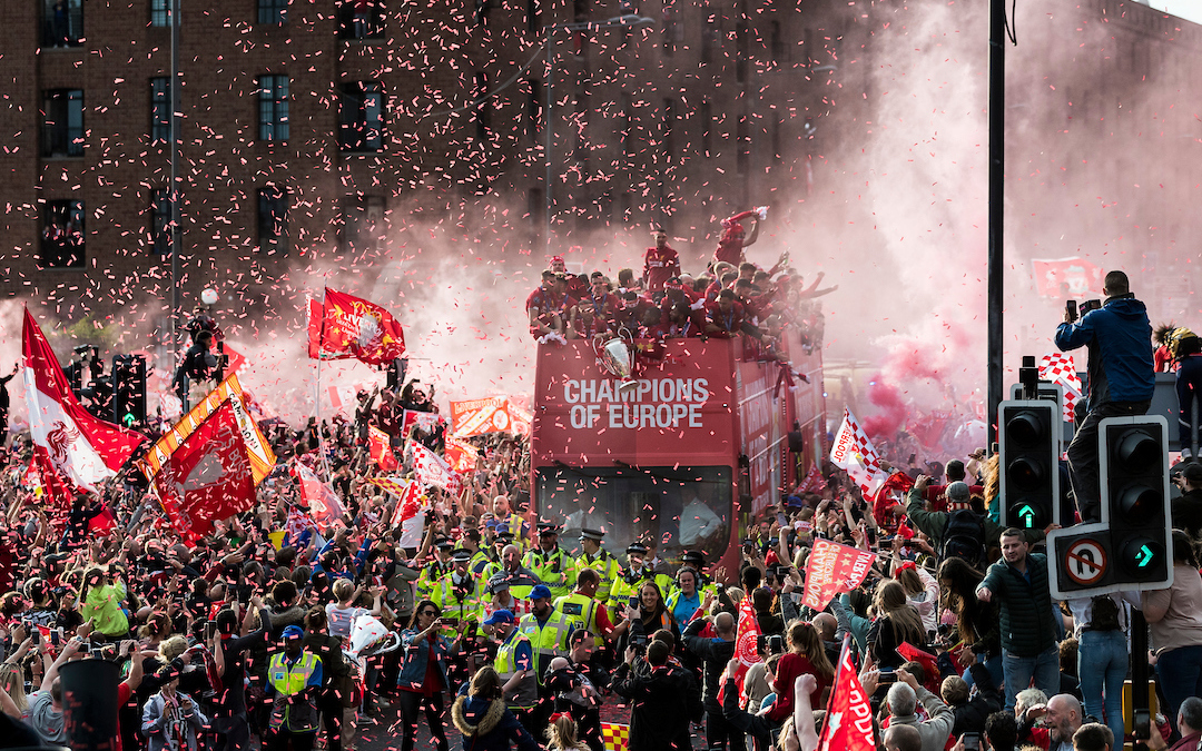 LIVERPOOL, ENGLAND - Sunday, June 2, 2019: Liverpool's captain Jordan Henderson holds the Champions League Trophy during an open-top bus parade through the city after winning the UEFA Champions League Final. Liverpool beat Tottenham Hotspur. 2-0 in Madrid. To claim their sixth European Cup. (Pic by Paul Greenwood/Propaganda)