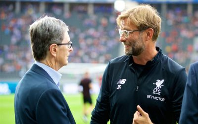 Liverpool's manager Jürgen Klopp chats with club owner John W. Henry
