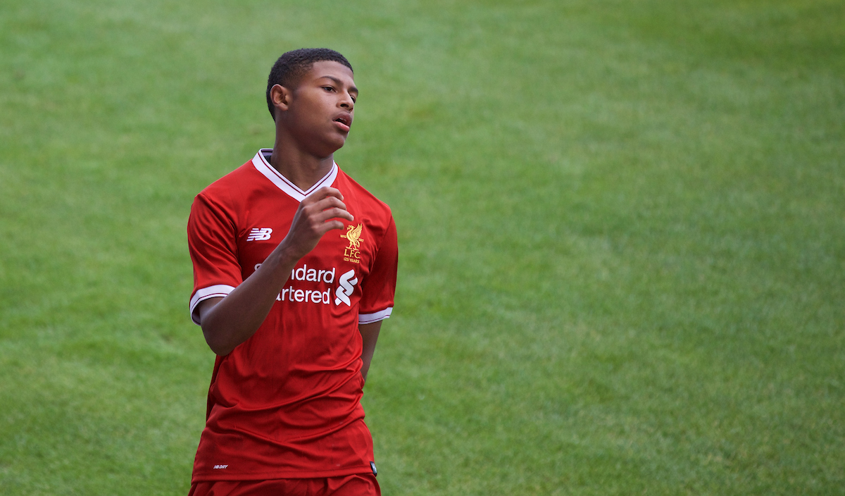 BIRKENHEAD, ENGLAND - Wednesday, September 13, 2017: Liverpool's Rhian Brewster shows a look of dejection during the UEFA Youth League Group E match between Liverpool and Sevilla at Prenton Park. (Pic by Paul Greenwood/Propaganda)