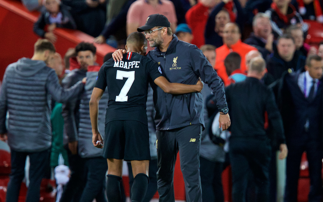 Liverpool's manager Jürgen Klopp and Paris Saint-Germain's Kylian Mbappé after during the UEFA Champions League Group C match between Liverpool FC and Paris Saint-Germain at Anfield.