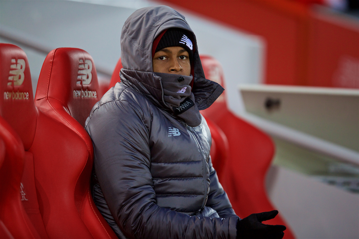 LIVERPOOL, ENGLAND - Sunday, December 16, 2018: Liverpool's Rhian Brewster during the FA Premier League match between Liverpool FC and Manchester United FC at Anfield. (Pic by David Rawcliffe/Propaganda)