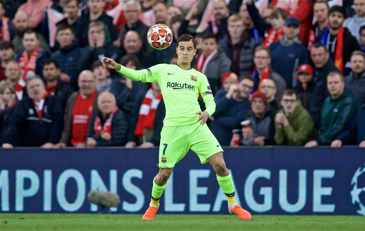 LIVERPOOL, ENGLAND - Tuesday, May 7, 2019: FC Barcelona's Philippe Coutinho Correia during the UEFA Champions League Semi-Final 2nd Leg match between Liverpool FC and FC Barcelona at Anfield. (Pic by David Rawcliffe/Propaganda)