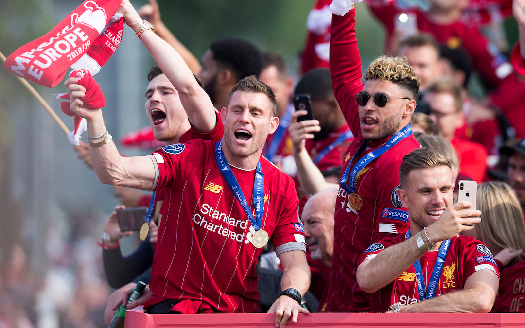 LIVERPOOL, ENGLAND - Sunday, June 2, 2019: Liverpool's James Milner, Alex Oxlade Chamberlain and captain Jordan Henderson during an open-top bus parade through the city after winning the UEFA Champions League Final. Liverpool beat Tottenham Hotspur. 2-0 in Madrid. To claim their sixth European Cup. (Pic by Paul Greenwood/Propaganda)