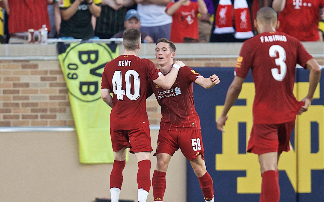 SOUTH BEND, INDIANA, USA - Friday, July 19, 2019: Liverpool's Harry Wilson celebrates scoring the first goal during a friendly match between Liverpool FC and Borussia Dortmund at the Notre Dame Stadium on day four of the club's pre-season tour of America. (Pic by David Rawcliffe/Propaganda)