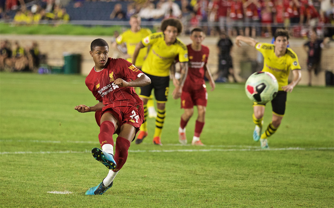 SOUTH BEND, INDIANA, USA - Friday, July 19, 2019: Liverpool's Rhian Brewster scores the second goal from a penalty kick during a friendly match between Liverpool FC and Borussia Dortmund at the Notre Dame Stadium on day four of the club's pre-season tour of America. (Pic by David Rawcliffe/Propaganda)