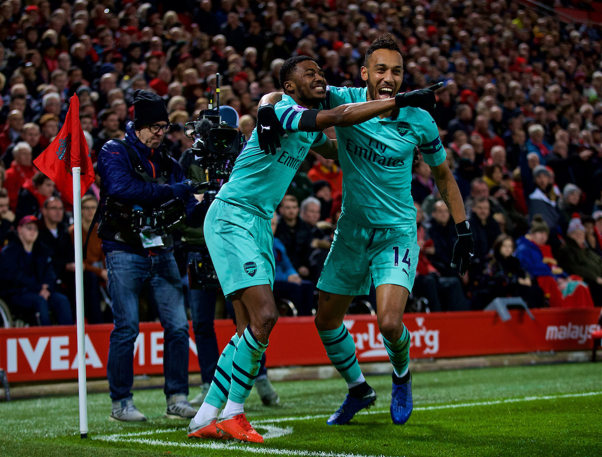 LIVERPOOL, ENGLAND - Saturday, December 29, 2018: Arsenal's Ainsley Maitland-Niles (L) celebrates scoring the first goal with team-mate Pierre-Emerick Aubameyang during the FA Premier League match between Liverpool FC and Arsenal FC at Anfield. (Pic by David Rawcliffe/Propaganda)