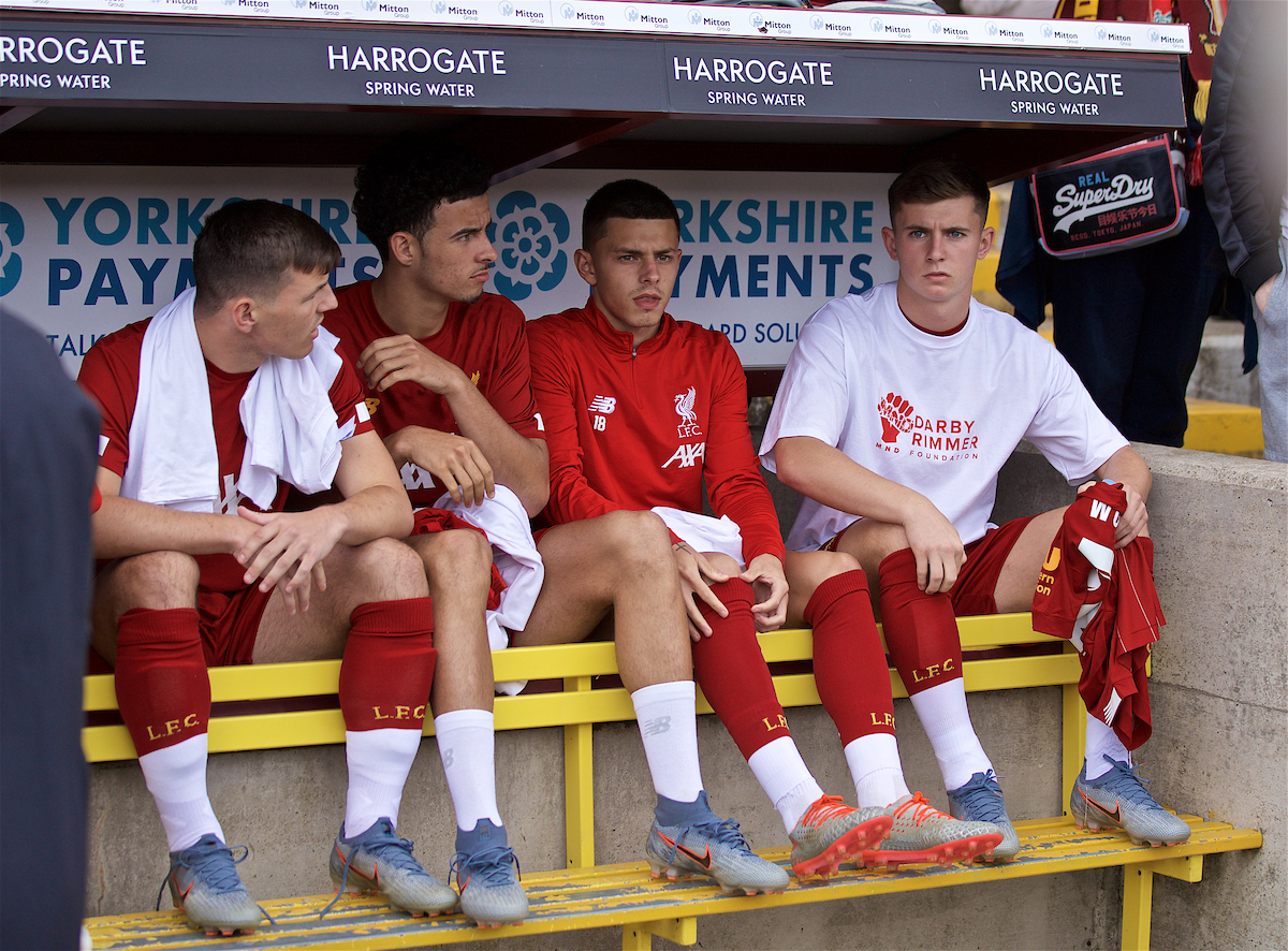 BRADFORD, ENGLAND - Saturday, July 13, 2019: Liverpool substitutes Bobby Duncan, Curtis Jones, Adam Lewis and Ben Woodburn on the bench before a pre-season friendly match between Bradford City AFC and Liverpool FC at Valley Parade. (Pic by David Rawcliffe/Propaganda)