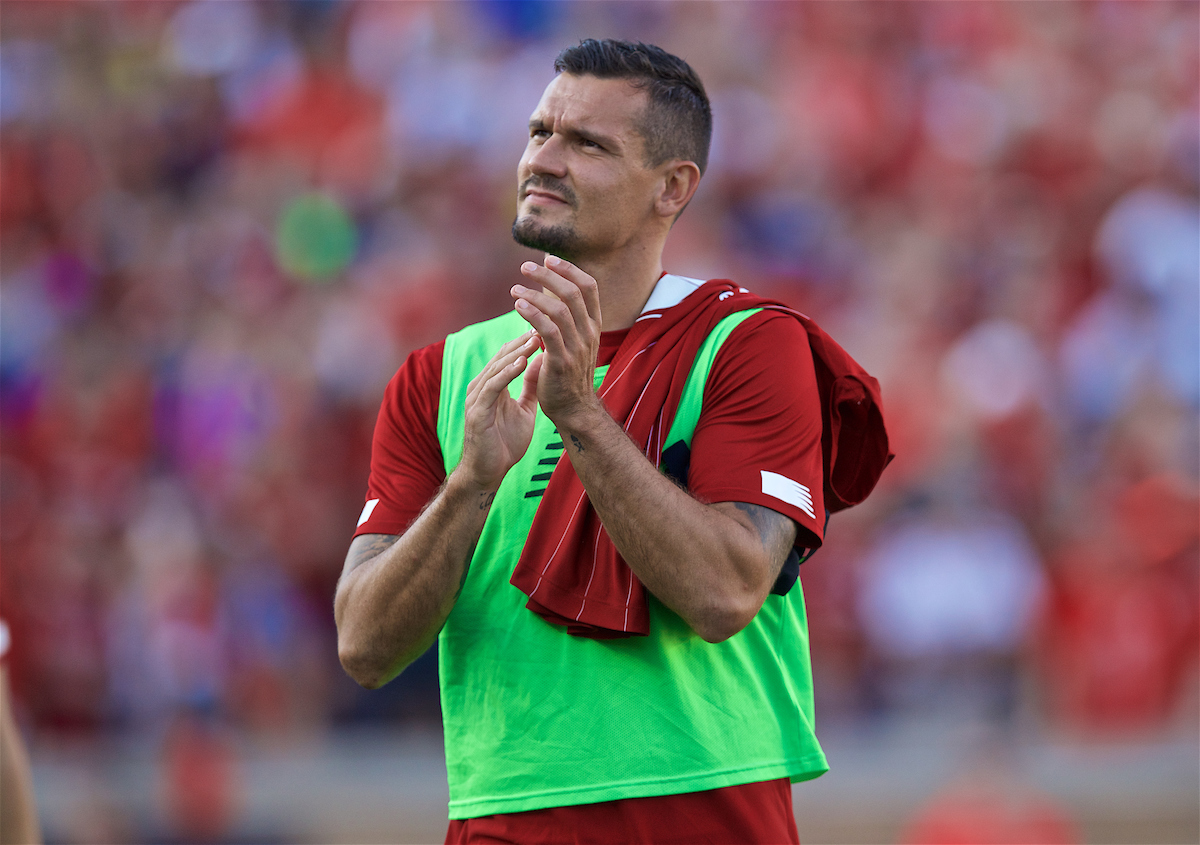 SOUTH BEND, INDIANA, USA - Friday, July 19, 2019: Liverpool's Dejan Lovren before a friendly match between Liverpool FC and Borussia Dortmund at the Notre Dame Stadium on day four of the club's pre-season tour of America. (Pic by David Rawcliffe/Propaganda)