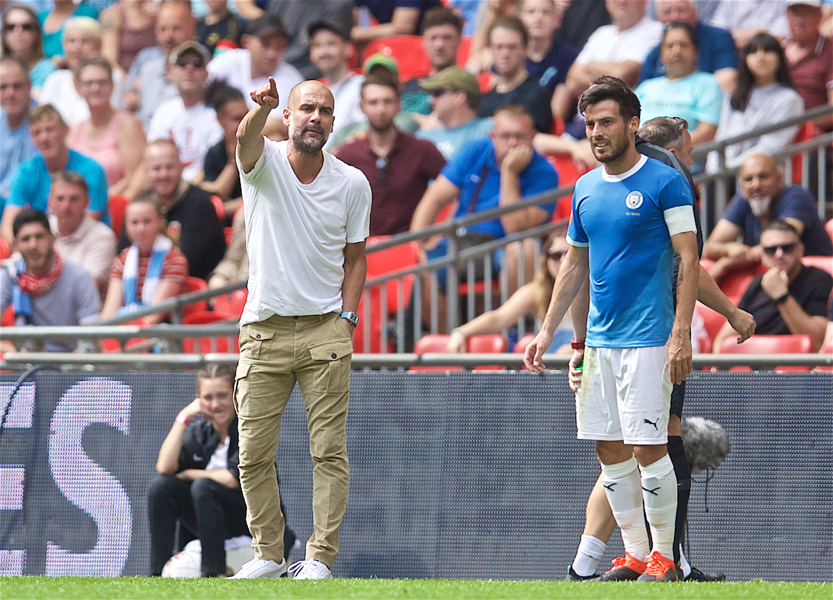 LONDON, ENGLAND - Sunday, August 4, 2019: Manchester City's manager Pep Guardiola reacts during the FA Community Shield match between Manchester City FC and Liverpool FC at Wembley Stadium. (Pic by David Rawcliffe/Propaganda)