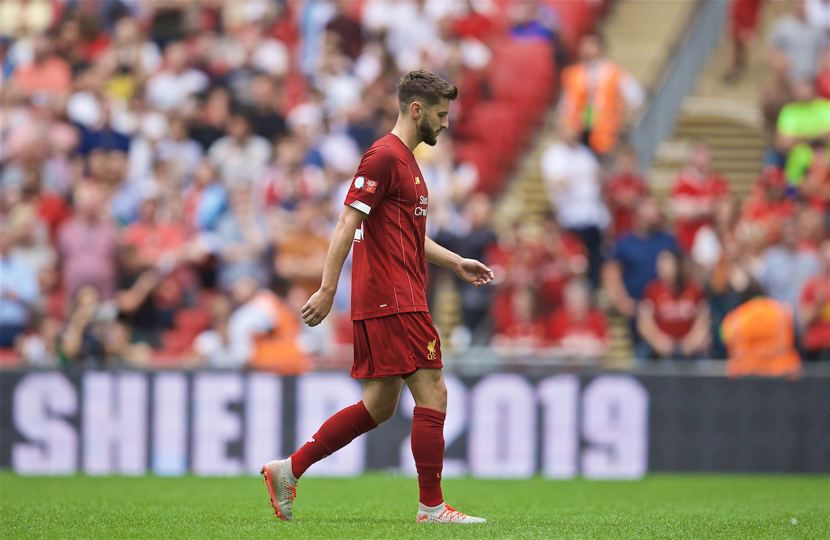 LONDON, ENGLAND - Sunday, August 4, 2019: Liverpool's Adam Lallana walks to take his side's third penalty kick during the FA Community Shield match between Manchester City FC and Liverpool FC at Wembley Stadium. Manchester City won 5-4 on penalties after a 1-1 draw. (Pic by David Rawcliffe/Propaganda)