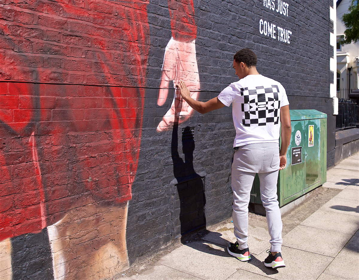 LIVERPOOL, ENGLAND - Thursday, August 8, 2019: Liverpool's Trent Alexander-Arnold reacts as he gets his first look at the mural of him on the side of a building in Sybil Road, Anfield. The mural was commissioned by The Anfield Wrap and painted by local artist Akse P19. (Pic by David Rawcliffe/Propaganda)