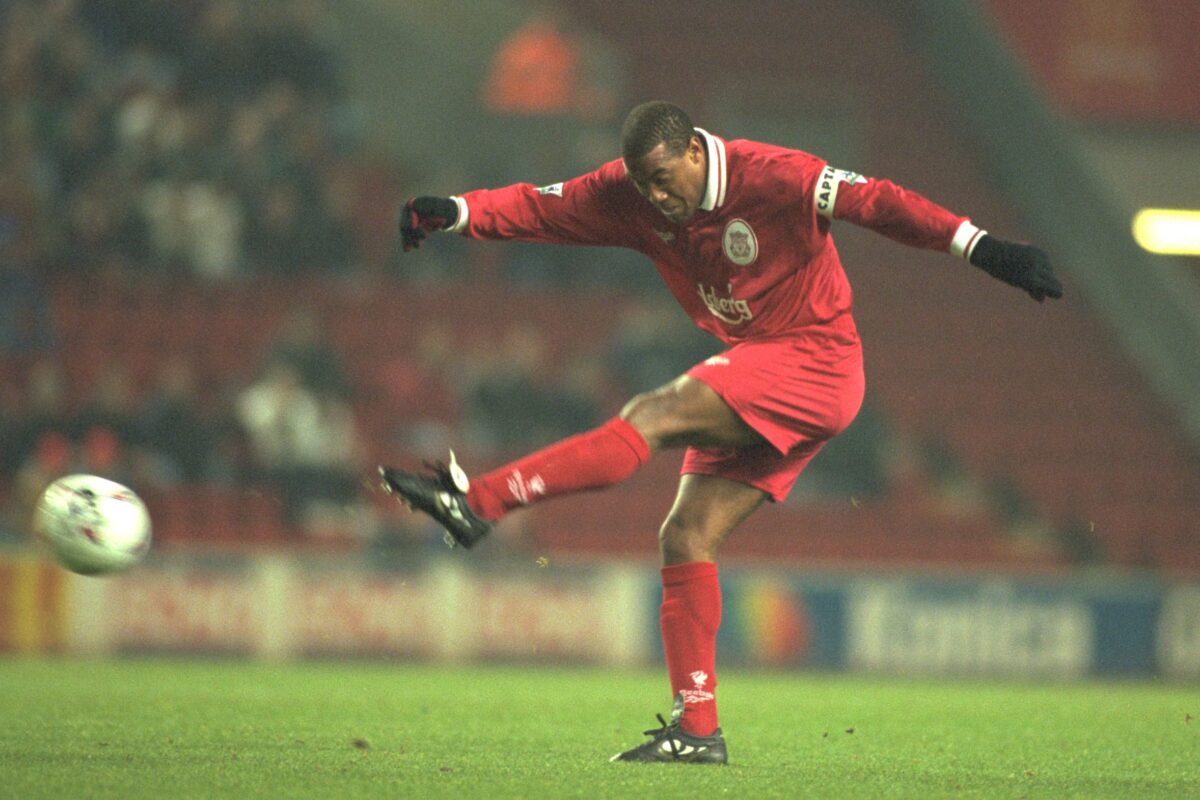 Wednesday, November 27th, 1996: Liverpool's John Barnes in action