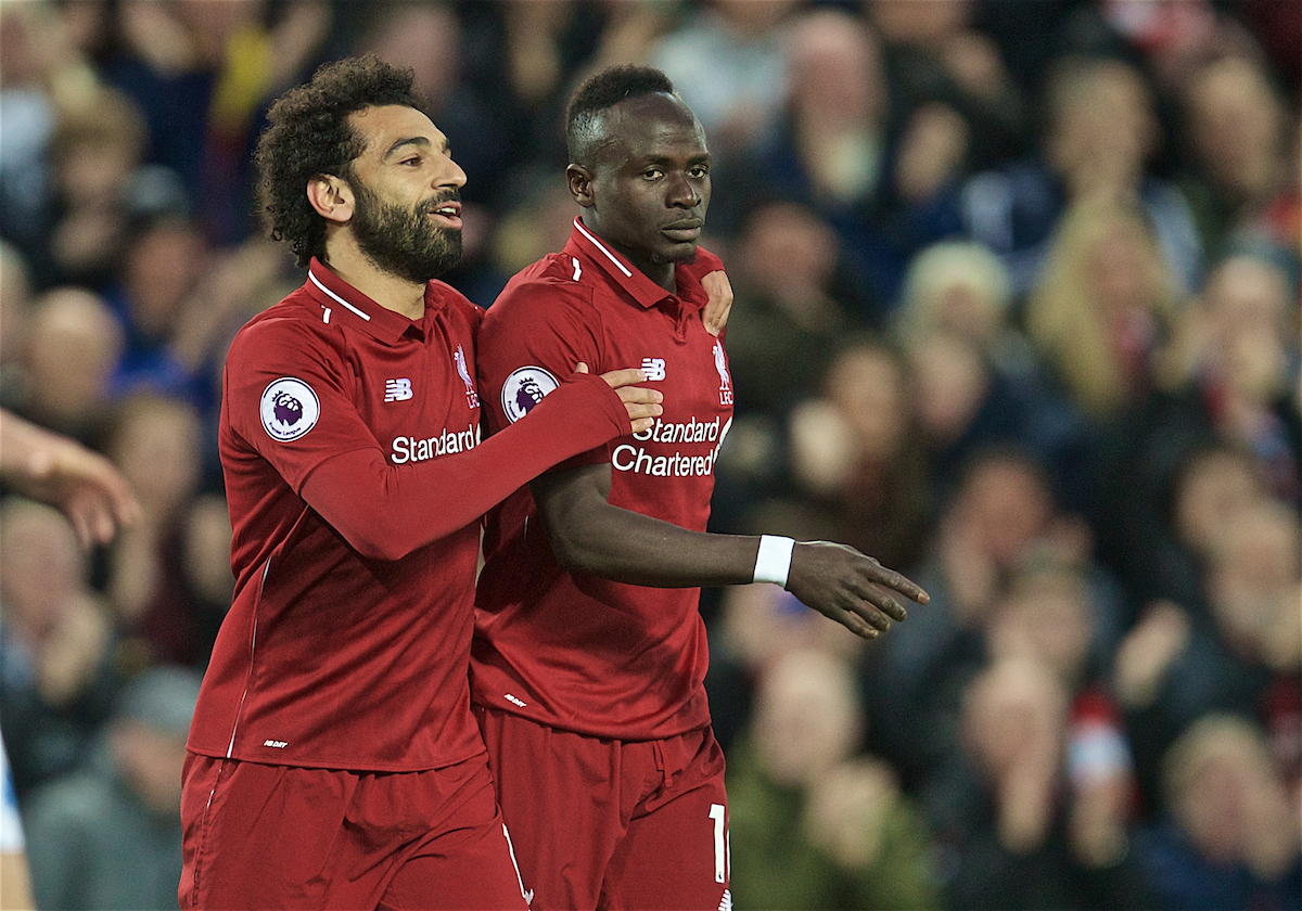 LIVERPOOL, ENGLAND - Friday, April 26, 2019: Liverpool's Sadio Mane (R) celebrates scoring the second goal with team-mate Mohamed Salah during the FA Premier League match between Liverpool FC and Huddersfield Town AFC at Anfield. (Pic by David Rawcliffe/Propaganda)
