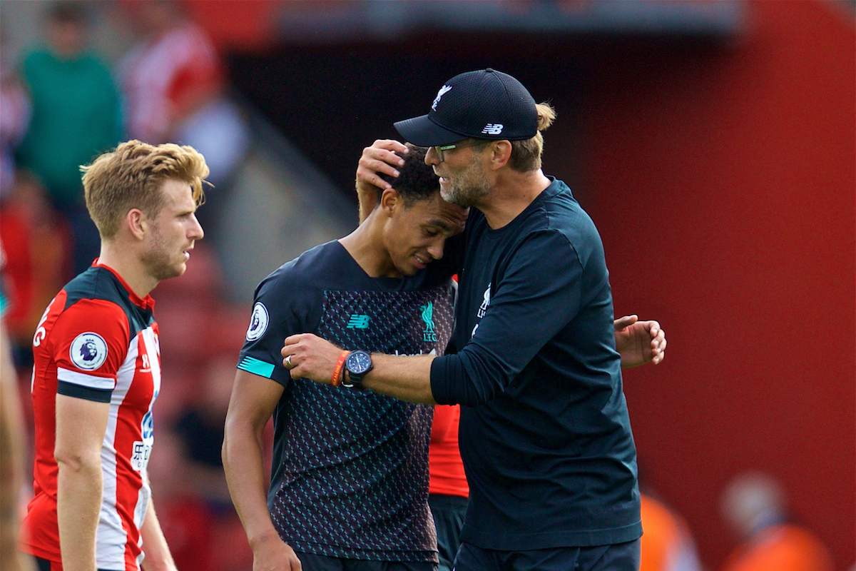 LIVERPOOL, ENGLAND - Saturday, August 17, 2019: Liverpool's manager Jürgen Klopp embraces Trent Alexander-Arnold after the FA Premier League match between Southampton FC and Liverpool FC at St. Mary's Stadium. Liverpool won 2-1. (Pic by David Rawcliffe/Propaganda)
