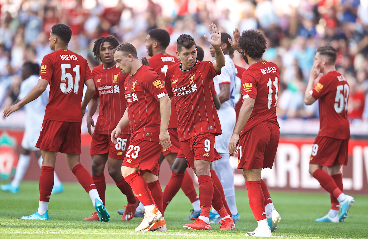 GENEVA, SWITZERLAND - Wednesday, July 31, 2019: Liverpool's Roberto Firmino celebrates scoring the first equalising goal during a pre-season friendly match between Liverpool FC and Olympique Lyonnais at Stade de Genève. (Pic by David Rawcliffe/Propaganda)