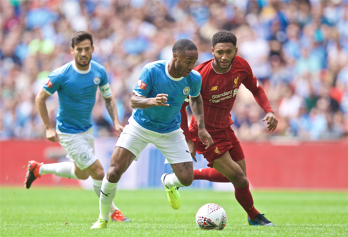 LONDON, ENGLAND - Sunday, August 4, 2019: Manchester City's Raheem Sterling and Liverpool's Joe Gomez during the FA Community Shield match between Manchester City FC and Liverpool FC at Wembley Stadium. (Pic by David Rawcliffe/Propaganda)