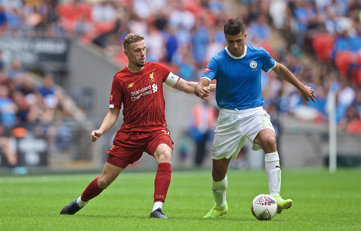 LONDON, ENGLAND - Sunday, August 4, 2019: Liverpool's captain Jordan Henderson (L) and Manchester City's Rodrigo Hernández Cascante ' Rodri' during the FA Community Shield match between Manchester City FC and Liverpool FC at Wembley Stadium. (Pic by David Rawcliffe/Propaganda)