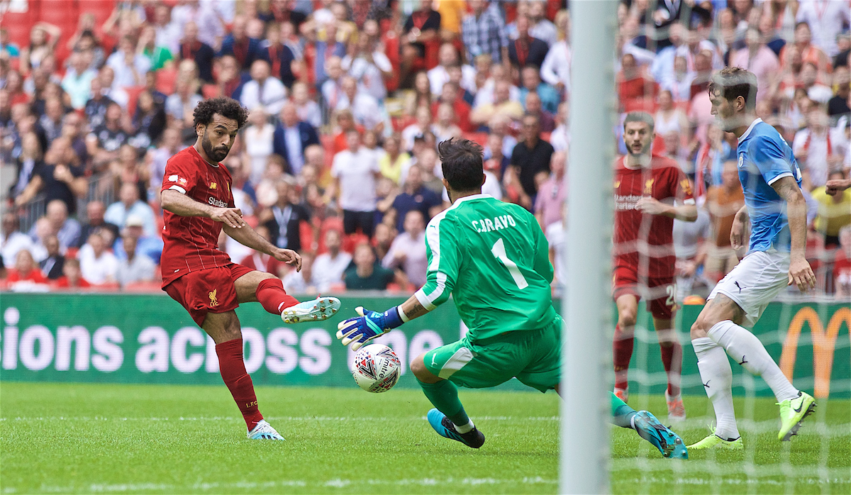 LONDON, ENGLAND - Sunday, August 4, 2019: Liverpool's Mohamed Salah sees his shot saved by Manchester City's goalkeeper Claudio Bravo during the FA Community Shield match between Manchester City FC and Liverpool FC at Wembley Stadium. (Pic by David Rawcliffe/Propaganda)
