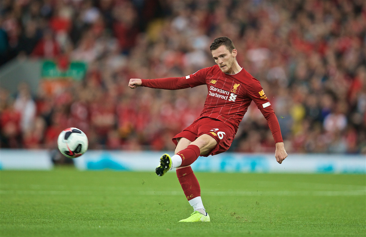 LIVERPOOL, ENGLAND - Friday, August 9, 2019: Liverpool's Andy Robertson during the opening FA Premier League match of the season between Liverpool FC and Norwich City FC at Anfield. (Pic by David Rawcliffe/Propaganda)