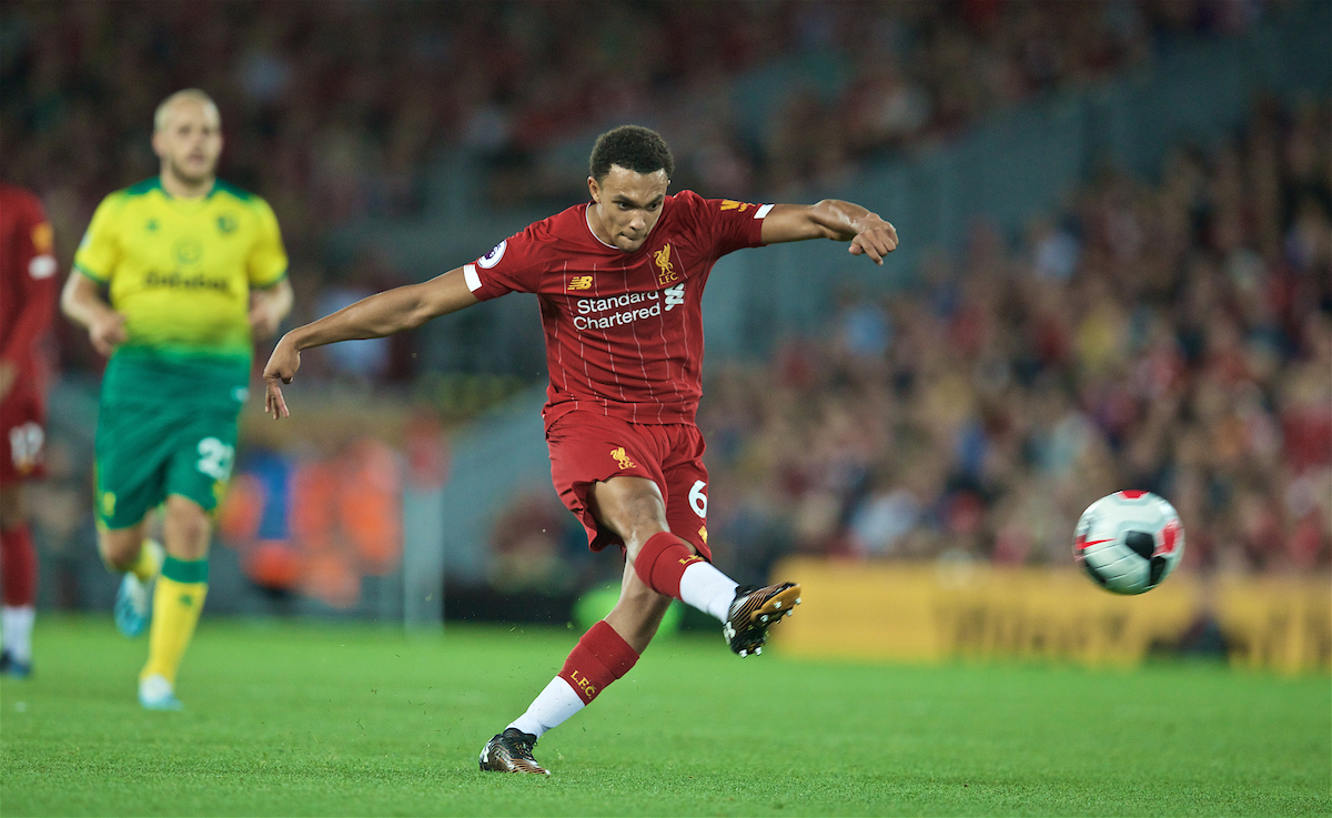 LIVERPOOL, ENGLAND - Friday, August 9, 2019: Liverpool's Trent Alexander-Arnold during the opening FA Premier League match of the season between Liverpool FC and Norwich City FC at Anfield. (Pic by David Rawcliffe/Propaganda)