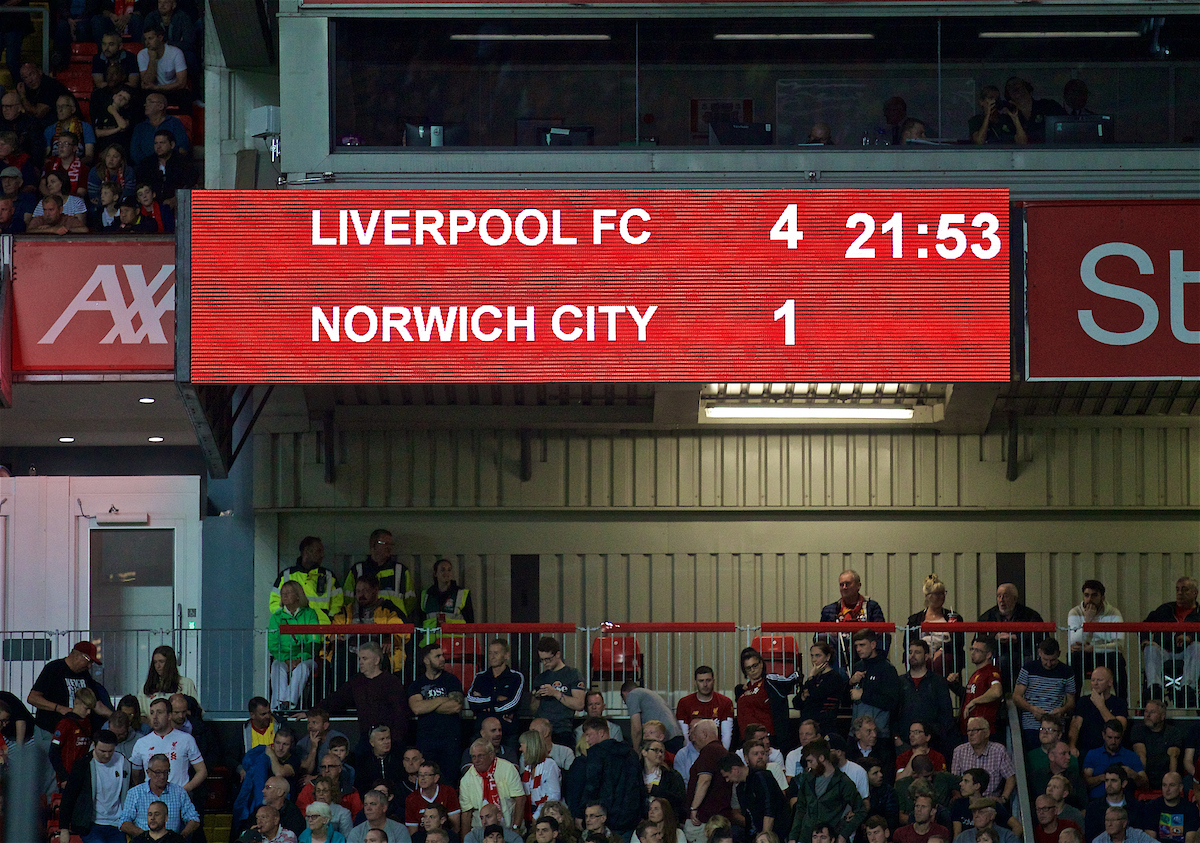 LIVERPOOL, ENGLAND - Friday, August 9, 2019: Liverpool's scoreboard records the 4-1 victory for the Reds during the opening FA Premier League match of the season between Liverpool FC and Norwich City FC at Anfield. (Pic by David Rawcliffe/Propaganda)