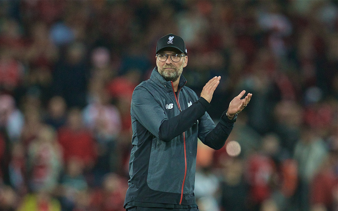 LIVERPOOL, ENGLAND - Friday, August 9, 2019: Liverpool's manager Jürgen Klopp applauds the supporters after the opening FA Premier League match of the season between Liverpool FC and Norwich City FC at Anfield. Liverpool won 4-1. (Pic by David Rawcliffe/Propaganda)