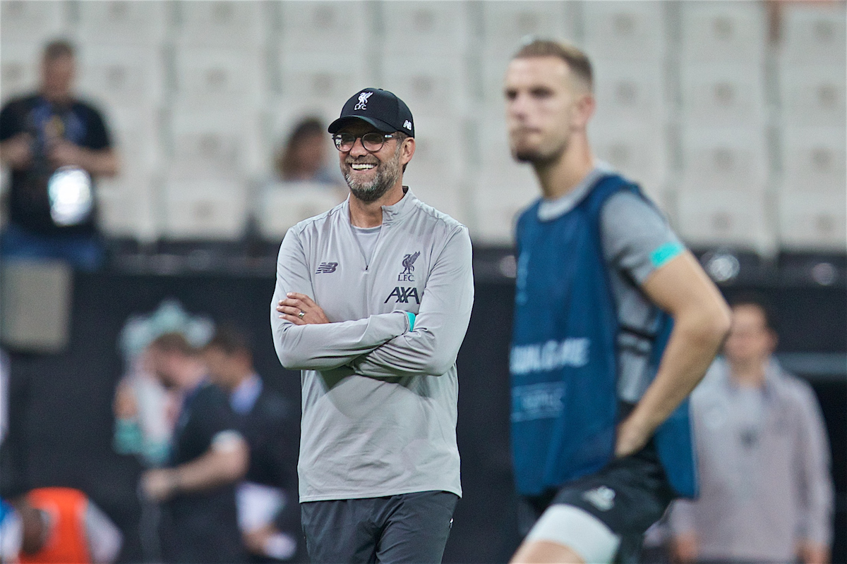 ISTANBUL, TURKEY - Tuesday, August 13, 2019: Liverpool's manager Jürgen Klopp during a training session ahead of the UEFA Super Cup match between Liverpool FC and Chelsea FC at Besiktas Park. (Pic by David Rawcliffe/Propaganda)