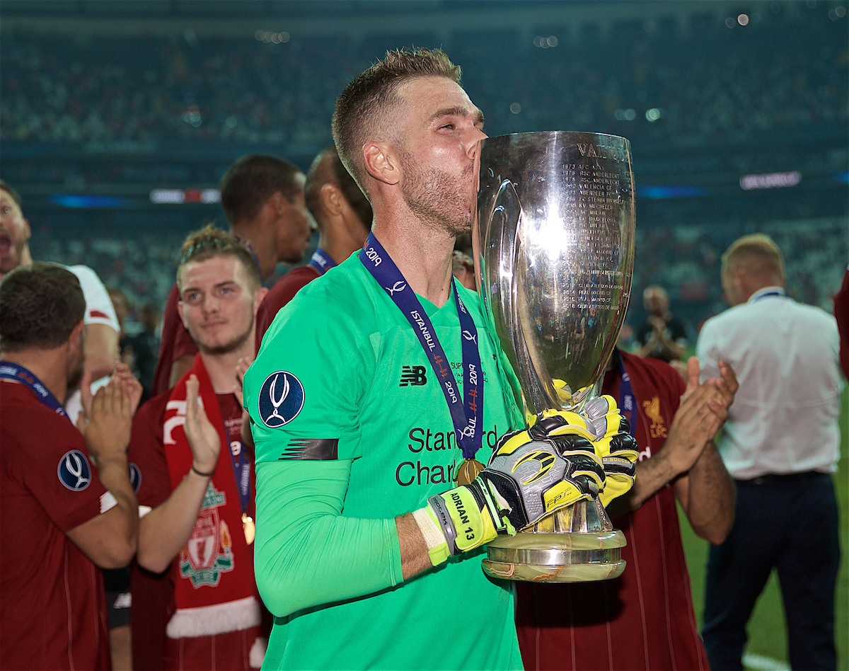 ISTANBUL, TURKEY - Wednesday, August 14, 2019: Liverpool's goalkeeper Adrián San Miguel del Castillo kisses the trophy after his save in the shoot-out won the Super Cup after the UEFA Super Cup match between Liverpool FC and Chelsea FC at Besiktas Park. Liverpool won 5-4 on penalties after a 1-1 draw. (Pic by David Rawcliffe/Propaganda)